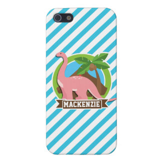 Pink Dinosaur; Blue & White Stripes Cover For iPhone 5