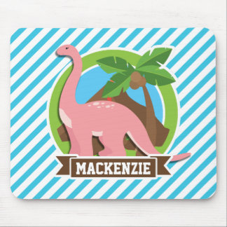 Pink Dinosaur; Blue & White Stripes Mouse Pad