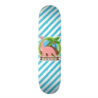 Pink Dinosaur; Blue & White Stripes Skateboard Deck