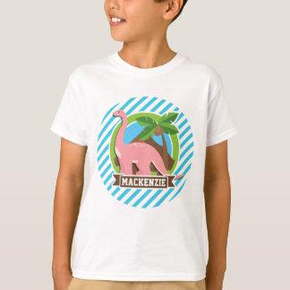 Pink Dinosaur; Blue & White Stripes T-Shirt