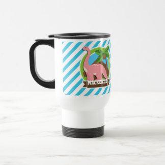 Pink Dinosaur; Blue & White Stripes Travel Mug
