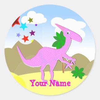Pink Dinosaur Cartoon Name Sticker