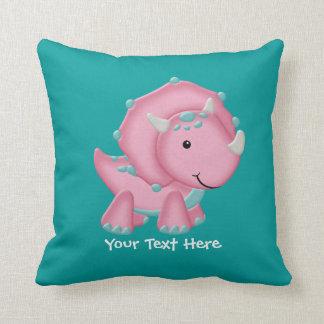 Pink Dinosaur (customizable) Throw Pillow