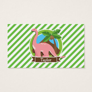 Pink Dinosaur, Dino; Green & White Stripes Business Card