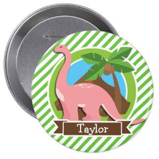 Pink Dinosaur, Dino; Green & White Stripes Pin