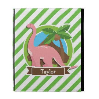 Pink Dinosaur, Dino; Green & White Stripes iPad Cases