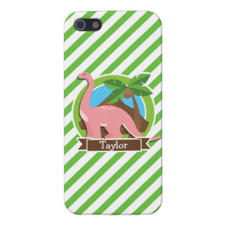 Pink Dinosaur, Dino; Green & White Stripes iPhone 5 Case