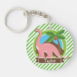 Pink Dinosaur, Dino; Green & White Stripes Double-Sided Round Acrylic Keychain
