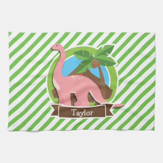 Pink Dinosaur, Dino; Green & White Stripes Towels