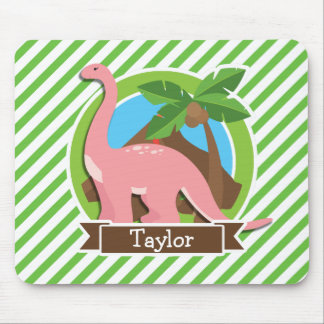 Pink Dinosaur, Dino; Green & White Stripes Mouse Pad