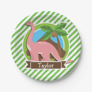 Pink Dinosaur, Dino; Green & White Stripes Paper Plate