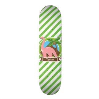 Pink Dinosaur, Dino; Green & White Stripes Skateboard
