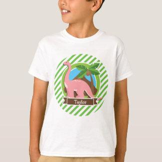 Pink Dinosaur, Dino; Green & White Stripes T-Shirt