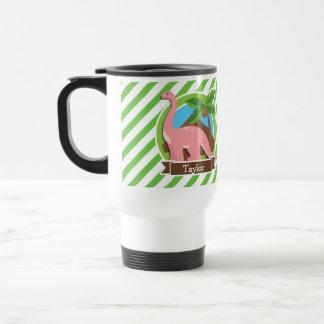 Pink Dinosaur, Dino; Green & White Stripes Travel Mug