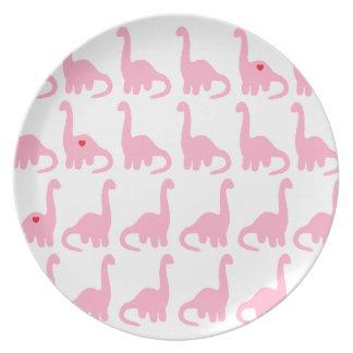 Pink Dinosaur Melamine Plate