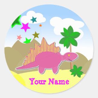 Pink Dinosaur Name Stickers