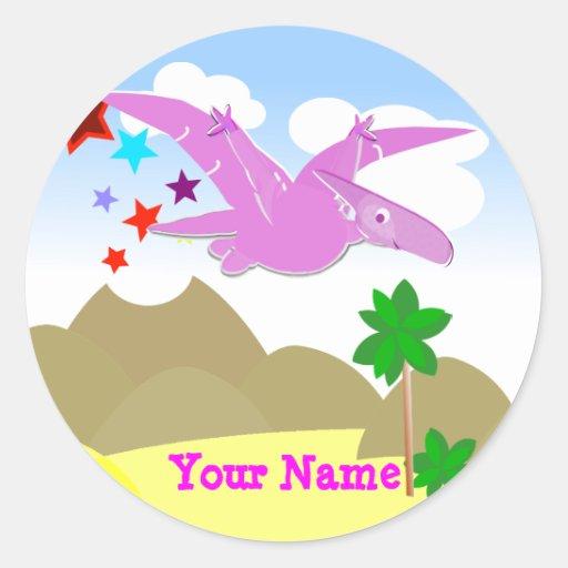 Pink Dinosaur Pteranodon Name Stickers