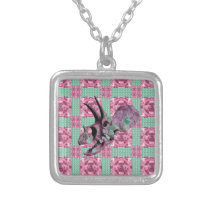 Pink Dinosaur Skull Geometric Pattern Silver Plated Necklace