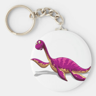 Pink dinosaur smiling on white basic round button keychain