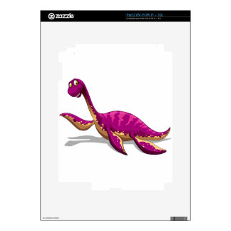Pink dinosaur smiling on white iPad 2 skin