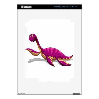Pink dinosaur smiling on white iPad 3 skin