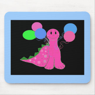 PInk Dinosaur with Balloons Mouse Pad