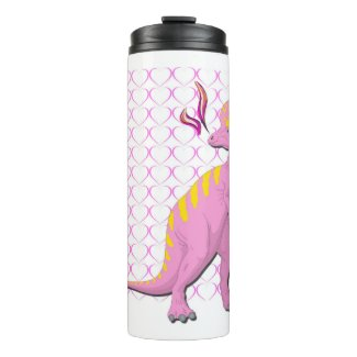 Pink Dinosaur With Hearts Thermal Tumbler