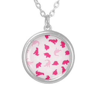 pink dinosaurs round pendant necklace