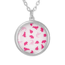 pink dinosaurs silver plated necklace
