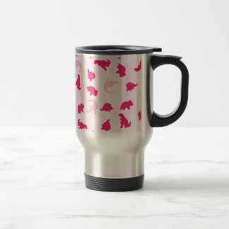 pink dinosaurs travel mug