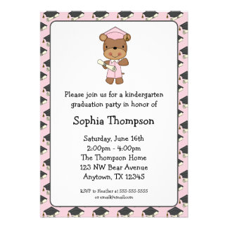 Pink Diploma Bear Girl Graduation Personalized Announcement