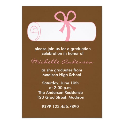 Pink Diploma Graduation Celebration Invitations