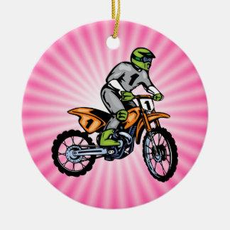Pink Dirt Bike. Ceramic Ornament