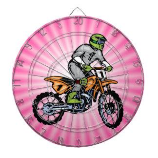Pink Dirt Bike. Dartboard With Darts
