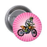 Pink Dirt Bike. Pinback Buttons