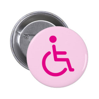 Pink disabled symbol or handicap sign for girls pinback button