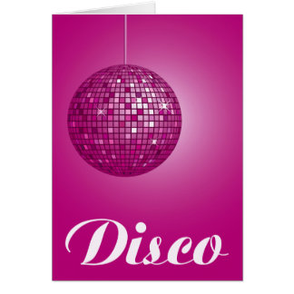 pink disco ball greeting cards