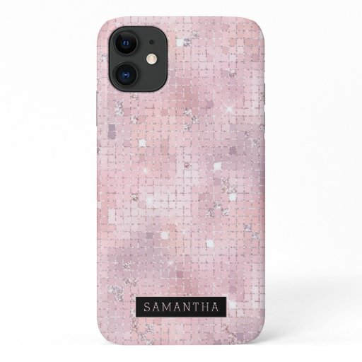 Pink Disco Ball Sparkle Mosaic Monogram iPhone 11 Case