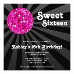 "Pink Disco Ball Sweet 16 Birthday Invitations 5.25"" Square Invitation Card"