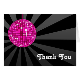 Pink Disco Ball Thank You Note Card