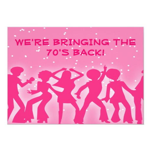 Pink Disco Theme 70's Party Card