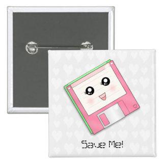Pink Diskette Button/Badge Button