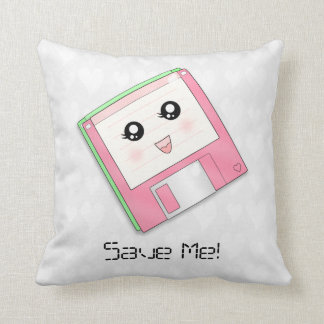 Pink Diskette Throw Pillow