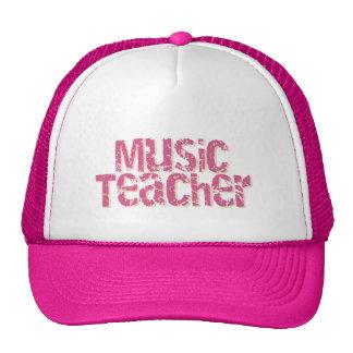 Pink Distress Text Music Teacher Mesh Hats