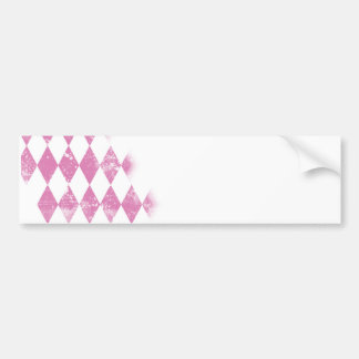 Pink Distressed Argyle Diamond Print Bumper Stickers