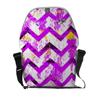 Pink Distressed Chevron Messenger Bag