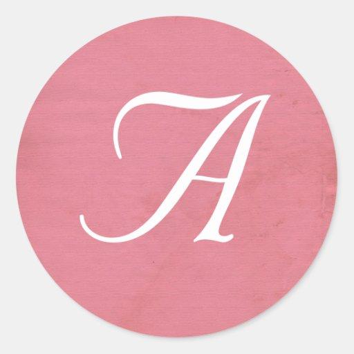 Pink distressed grunge monogram background envelop round sticker