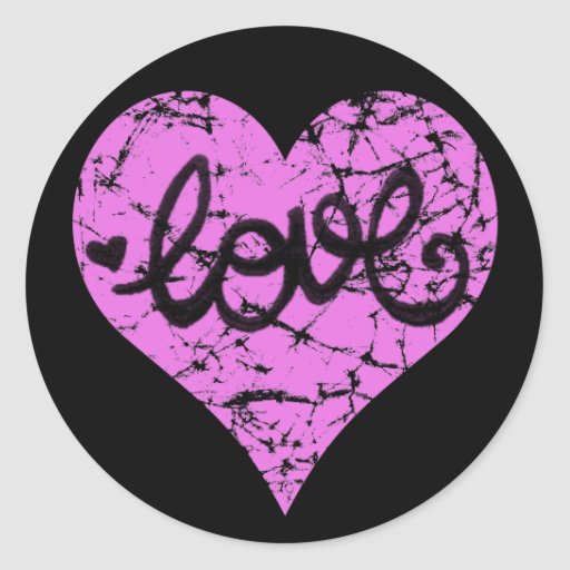 PINK DISTRESSED LOVE HEART STICKERS