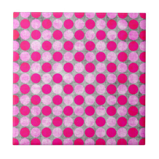 Pink Distressed Polka Dotted Tiles