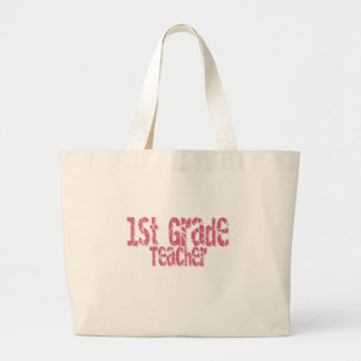 Pink Distressed Text 1st Grade Teacher Large Tote Bag